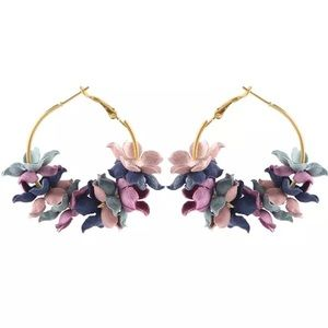 Jewelry - ARRIVED! Fabric Floral Golden Hoop Earrings